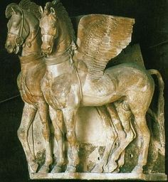 A terra-cotta group of winged horses in Hellenistic style, considered a masterpiece of Etruscan art. Found in Tarchna (Roman Tarquinii or modern Tarquinia).  Early 4th century BCE.