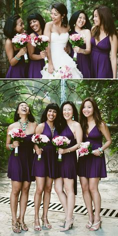 Bridesmaids are pretty in purple at this chic Mexico wedding. Photos by Jillian Mitchell via JunebugWeddings.com.