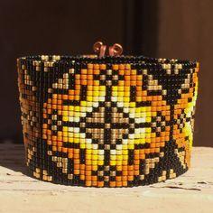 Golden Rosette Bead Loom Bracelet Bohemian Boho by PuebloAndCo