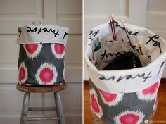 Knitting project fabric bucket with knitting needle storage