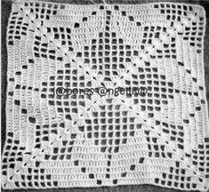 Vintage Crochet Patterns, Crochet Square Patterns, Crochet Blocks, Crochet Diagram, Crochet Squares, Crochet Blanket Patterns, Filet Crochet, Crochet Motif, Crochet Designs