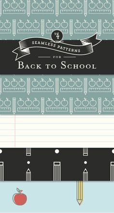 FREE Back to School Patterns - Designs By Miss Mandee. Use these 4 seamless patterns to dress up your digital scrapbook or make some wrapping paper—perfect for a teacher gift!