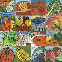 week 21 + 22: mozaïek groenten/fruit met verfstaaltje van gamma/karwei/praxis