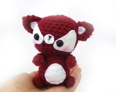 fox amigurumi plush stuffed animal red white crochet mini baby fox ready to ship