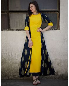 Shop online Pineapple and Navy Cape Dress Pineapple maxi paired with navy block printed jacket for the diva in you Simple Kurti Designs, Stylish Dress Designs, Kurta Designs Women, Designs For Dresses, Stylish Dresses, Fashion Dresses, Trendy Outfits, Long Gown Dress, Cape Dress