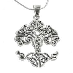 """Large Celtic Knot Tree of Life Sterling Silver Pendant 18"""" Chain Necklace Silver Insanity. $59.97. Nickel Free Silver - Marked 925. Weight is 11.2 Grams. Design - Cari Buziak. 18"""" Snake Chain Included. 1.5"""" High and 1.25"""" Wide (4x5mm Bail)"""