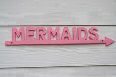 Flamingos and Mermaids theme? for the pool Mermaid Sign Flamingo Pink Coastal Decor by beautifuldetailswed Pink Lady, Kitsch, Mermaid Sign, Mermaid Quotes, Mermaid Cove, Mermaid Beach, Mermaid Style, Mermaid Art, Zack E Cody