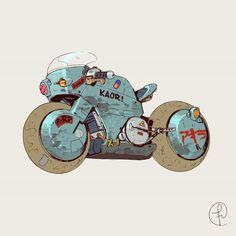 'Tetsuo bike' from 'AKIRA' by Fernando Correa 2019 Futuristic Motorcycle, Motorcycle Art, Motorcycle Design, Bike Art, Cyberpunk Kunst, Graffiti, Neo Tokyo, Cowboy Bebop, Blue Exorcist