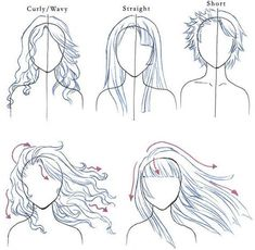 Drawing hair. Here's a few good examples of how the different hair styles sit, see how they are totally different styles but the sit in a very similar way. I've also drawn examples of hair blowing in the wind for wavy/curly hair and straight hair. With wavy hair it will get messier than the straight but they will both have fly away strands of hair