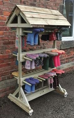 Children need clothes to go outside in any weather. - Children need clothes to go outside in any weather. We … – Outdoor Classroom and School Garden - Outdoor Education, Outdoor Learning Spaces, Outdoor Play Areas, Natural Playground, Outdoor Playground, Boot Storage, Storage Rack, Outdoor Shoe Storage, Storage Ideas