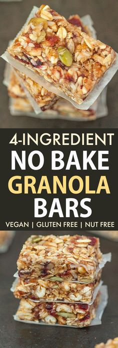 Recipes Snacks Bars Easy Vegan No Bake Granola Bars made with NO peanut butter and NO honey- It's nut-free and kid approved! 4 ingredients, 5 minutes for thick, chewy homemade granola bars! Vegan Granola Bars, No Bake Granola Bars, Healthy Homemade Granola Bars, No Bake Bars, Vegan Snacks, Nut Free Snacks, Vegan Treats, Vegan Food, Nutella