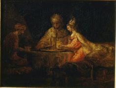 Ahasuerus and Haman at the Feast of Esther - Rembrandt van Rijn.  1660.  Oil on canvas.  73 x 94 cm.  Pushkin Museum, Moscow, Russia.