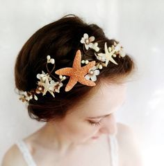 seashell headpiece, bridal headband, beach wedding, starfish head piece, hair accessory - SEA MAIDEN - cream flower, tan, hair accessories. $105.00, via Etsy.