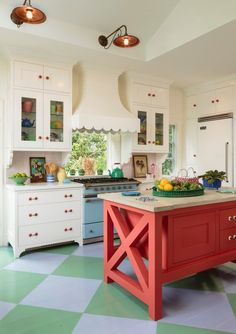 Gorgeous white kitchen with a colorful spin