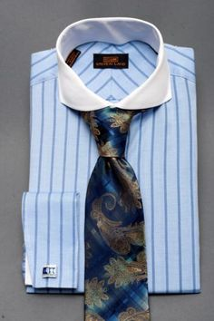 Dress Shirt New by Steven Land Spread Collar French Cuff Blue DS1065BLUE | eBay