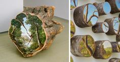 NY-based artist Alison Moritsugu paints beautiful, rural landscapes on naturally fallen tree logs as part of her criticism about how we see and take care of mother earth.