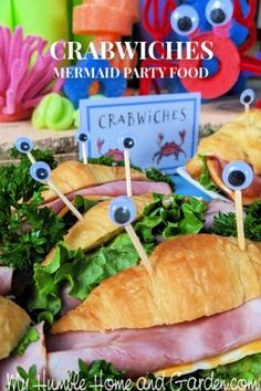 Throw The Best Mermaid Party – Crabwiches They'll Love – My Humble Home and Garden. Click through for how to make these adorable crabwiches! Little Mermaid Birthday, Little Mermaid Parties, How To Make Cookies, Food To Make, Clam Shell Cookies, Tea Time Magazine, Mermaid Party Food, Boy Birthday Parties, 8th Birthday