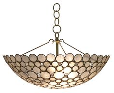 "Serena+Bowl+Chandelier+-+Capiz+Shell+Circles+w/Metal+Detailing;+Includes+Canopy+&+3-Foot+Chain *Four+Bulbs+Not+to+Exceed+60W  31.5""Diameter+x+19.5""H+ Bowl:9""H"