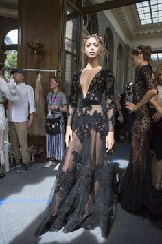 Zhenya Katava for Zuhair Murad at Couture Fall 2017 - Backstage Runway Photos
