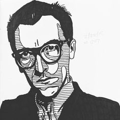 Daily Sketch 2/28/18 #1247 Elvis Costello #dailysketch #illustration #people #portrait #musician #producer #elviscostello