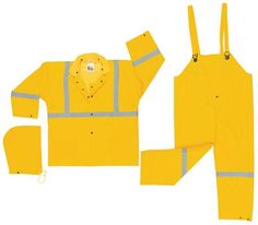 MCR Safety Classic Plus 3- Piece Reflective Suit Mfg# 2403R Yellow