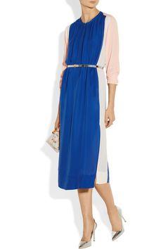 By Malene Birger|Evelyne color-block cupro and silk-blend shirt dress|NET-A-PORTER.COM