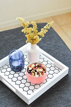 Use leftover tile to create a tray to hold everything from snacks and ...