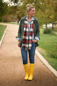 Chambray + olive jacket + plaid scarf