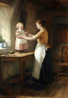 His Mother's Joy Hugh Cameron – Scottish) Paintings I Love, Beautiful Paintings, Illustrations, Illustration Art, Mother And Child Reunion, Vintage Artwork, Mothers Love, Love Art, A4 Poster