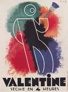 """""""Valentine - seche en 4 heures"""" - lithographic poster by Charles Loupot, 1929"""
