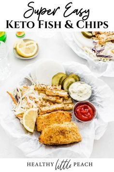 Keto Fish and Chips with all the southern fixin's. Crispy cod fillets cooked in the air fryer, golden brown jicama fries, ranch coleslaw and homemade tarter sauce. #whole30 #keto #fishandchips #ketofish #ketofishandchips #paleo #whole30recipes #airfryer #airferyrecipes