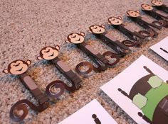 monkey+clothespin+craft | made 8 clothespins into 8 silly monkeys. Then I designed 8 printable ...