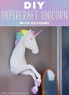 Today we're making this papercraft unicorn! I was browsing Etsy a little while ago and came across this papercraft pattern for sale from a shop called Oxygami. I had so much fun putting my first… View Post Unicorn Room Decor, Unicorn Rooms, Unicorn Bedroom, Unicorn Diys, Unicorn Crafts, Unicorn Birthday Parties, Unicorn Party, Rainbow Unicorn, Kids Crafts
