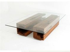 Reclaimed wood and glass top coffee table rotsenfurniture.com