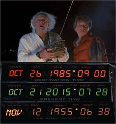 """Marty McFly in """"Back to the Future"""" programmed his time-traveling DeLorean to travel to this year, 2015. Description from explosion.com. I searched for this on bing.com/images"""