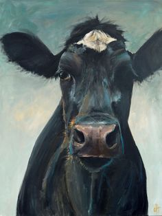 Cow Painting Hattie Canvas Print of an original by ArtPaperGarden