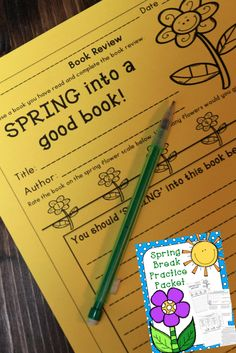 Spring Book Review Part of a Spring Break Homework Packet - Just print and go!