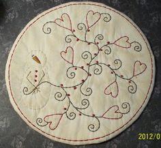 Primitive Valentine Stitchery PATTERN Snowman by thetalkingcrow