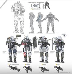 Around 2017 I was tasked to design several units such as characters and mechs for cyberpunk themed boardgame Human Interface - Nakamura Tower. Robot Concept Art, Weapon Concept Art, Armor Concept, Game Character Design, Character Concept, Character Art, Cyberpunk, Mecha Suit, Combat Armor