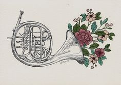 22 Super Ideas For Music Drawings Instruments Tattoos Music Drawings, Art Drawings, Horn Instruments, Elefante Tattoo, Band Nerd, French Horn, Future Tattoos, Illustrations, Art Inspo