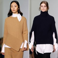 The 13 Trends, Fashion Ideas, and Styling Tricks That We Loved From Fall 2016 #LFW - CHUNKY SWEATER-AND-WHITE SHIRT COMBOS  - from InStyle.com