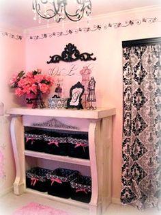 Storage in Parisian Barbie room