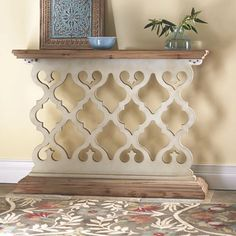 An entryway or console table is shaped just for the small real estate of most foyers and gives you a place to drop keys and mail while looking stylish and smart. Add a pretty collectible or flower arrangement to finish the look. Home Living Room, Living Room Decor, Home Furniture, Furniture Design, Wood Carving Designs, Antique Interior, Entryway Decor, Entryway Tables, Country Decor