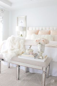 blush pink bedding, pom pom at home, romantic homes, romantic feminine bedroom, faux fur throw blank Room, Home, House Interior, Master Bedroom Update, Feminine Bedroom, Girl Bedroom Decor, Aesthetic Bedroom, Master Bedrooms Decor, New Room