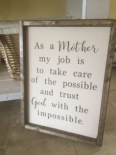 As a Mother, trust God What a wonderful and loving sign for the perfect mom for mothers day! #mothersday #momofboys #love #homedecor #farmhouse