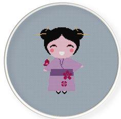 A cute geisha,Buy 4 get 1 free Cross stitch pattern by danceneedle on Etsy, $4.00