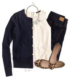Navy, cream & leopard outfit ideas casual moda para damas, a Mode Outfits, Fall Outfits, Casual Outfits, Fashion Outfits, Womens Fashion, Fashion Scarves, Casual Jeans, J Crew Outfits, Fashion Clothes