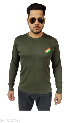 Tshirts Indian Army Camaouflage Stylish T-shirt for men (Full) Fabric: Cotton Sleeve Length: Long Sleeves Pattern: Solid Multipack: 1 Sizes: XL (Chest Size: 21 in Length Size: 28 in)  L (Chest Size: 20 in Length Size: 27.5 in)  M (Chest Size: 18 in Length Size: 26 in)  XXL (Chest Size: 22 in Length Size: 29.5 in)  Country of Origin: India Sizes Available: M, L, XL, XXL   Catalog Rating: ★4.4 (446)  Catalog Name: Trendy Partywear Men Tshirts CatalogID_1978418 C70-SC1205 Code: 243-10755419-