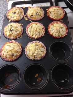 Almond and blueberry muffins. I used my standard muffin recipe, adding almond essence and blueberries, then scattering flaked almonds over the top before baking.