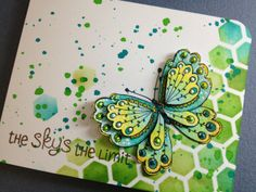 Paper Crafting Sunshine: Bold Bright Butterfly. To CASE this card use SU sets: Papillon Potpourri & Gorgeous Grunge with the Tim Holtz honeycomb stencil.